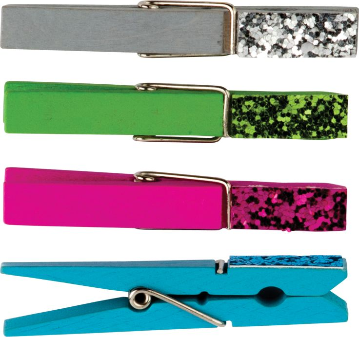 """Glitter Clothespins - Assign student tasks or classroom job. Hang student artwork or classroom decorations. 20 wood clothespins: 5 each of silver, blue, pink, and green. Approx. 2-7/8"""" x 3/8""""."""