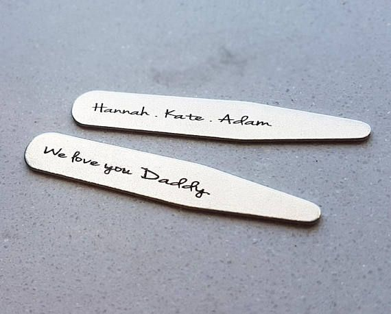 Check out this item in my Etsy shop https://www.etsy.com/listing/548277561/personalized-collar-stays-fathers-day