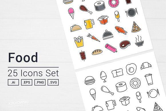 Tasty Food Icons Set by Krukowski Graphics on @creativemarket
