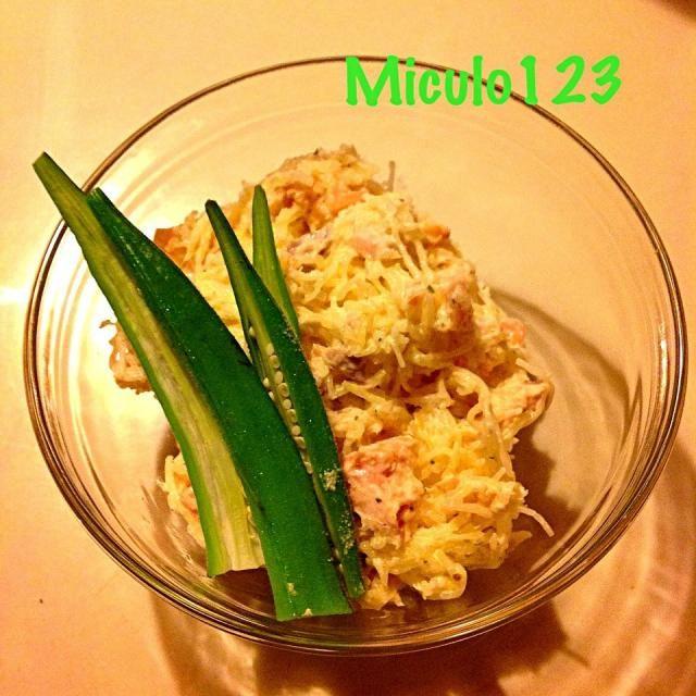 全くかぼちゃって感じはしない - 21件のもぐもぐ - そうめんかぼちゃとサーモンのサラダ by miculo123
