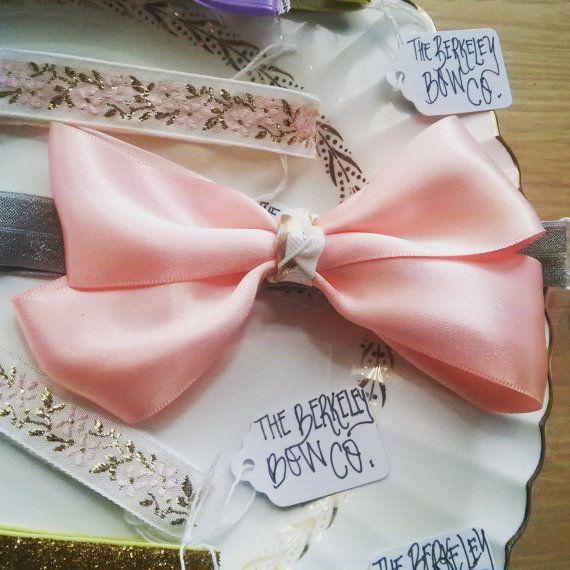 Big Pink Bow Baby Headband from TheBerkeleyBowCo on Etsy.