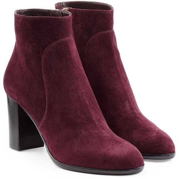 Sergio Rossi Suede Ankle Booties ($530) ❤ liked on Polyvore featuring shoes, boots, ankle booties, purple, purple ankle boots, short boots, block heel booties, suede ankle bootie and suede boots