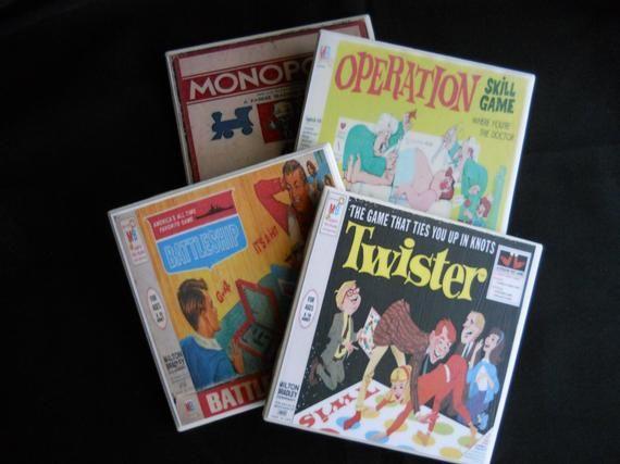 Board Games Coasters ~ Ceramic Tile Coasters ~ Drink Coasters ~ Vintage Board Games ~ Game Room Deco