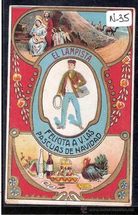 FELICITACION ANTIGUA NAVIDAD OFICIOS - EL LAMPISTA - VER REVERSO - ( N-35 ) - Foto 1