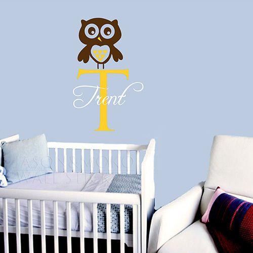 Nome do bebê coruja berçário decalque de vinil adesivos de parede decoração de quarto ou berçário do bebê vinil 45 * 70 CM