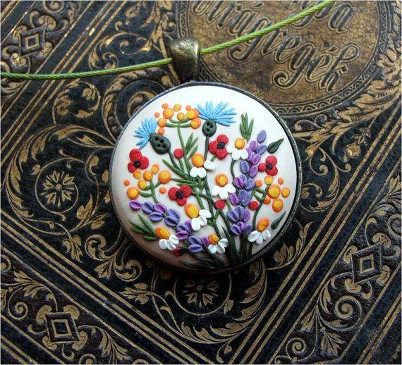 Floral Jewelry Spring Flower Pendant Beige Necklace by Floraljewel
