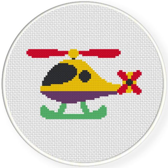 Charts Club Members Only: Cute Helicopter Cross Stitch Pattern