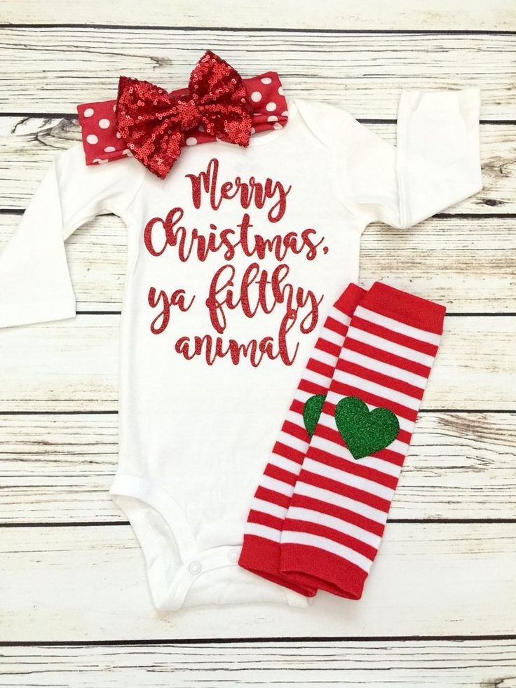 Merry Christmas Ya Filthy Animal Baby Girl Christmas Outfit | Home Alone Funny Baby Onesie for Christmas