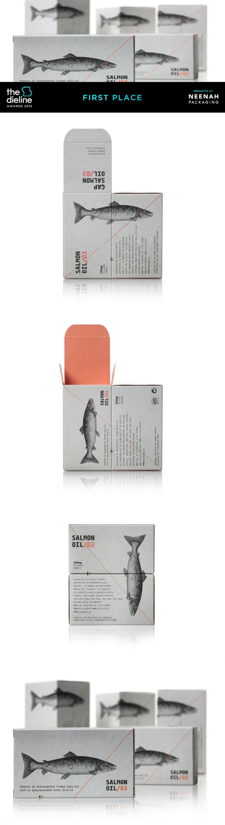The Dieline Awards 2015: 1st Place Health, Cosmetics, Fragrance, Fashion- Salmon Oil — The Dieline | Packaging & Branding Design & Innovation News