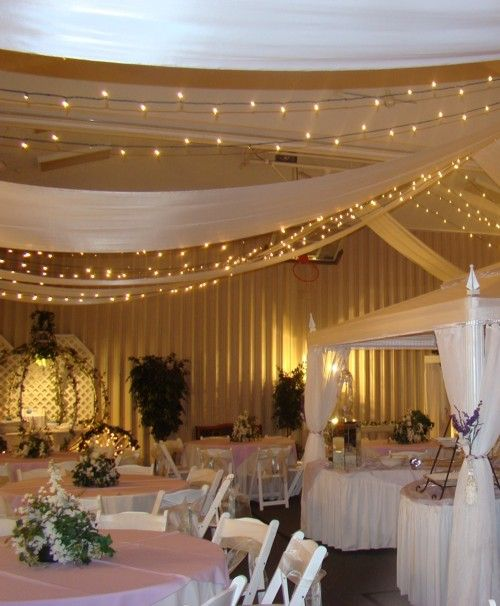 Twinkle Lights And Gold Chiffon Light Fabric Hanging Over