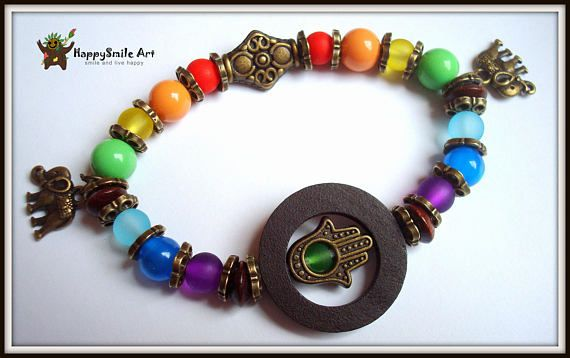 Rainbow Colorful Bronze Elephant Gift For Her Seven Chakra