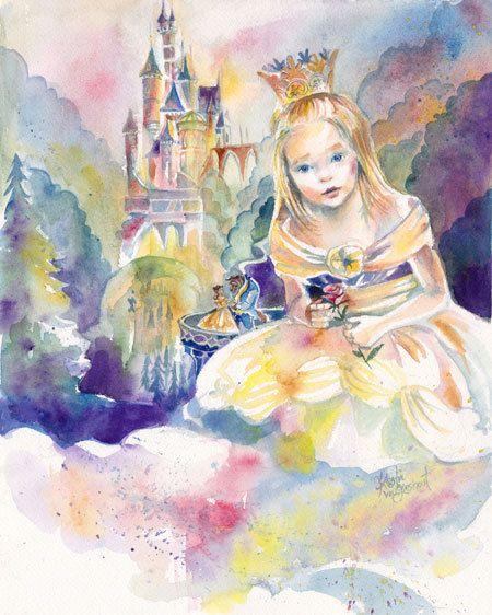 Custom Children's Portrait with Disney by SimplyArtByKristin