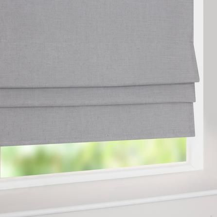 Grey Linen Blackout Roman Blind | Dunelm