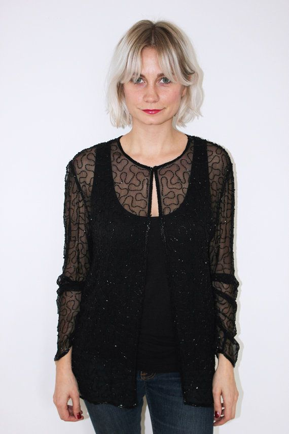 Sheer black beaded cardigan by CirkusVintageCph on Etsy