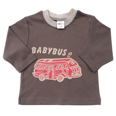 Brown With Cream Neck Ribbing Babybus Print And Red Car-BBLT005-Brown-Cream-Red $7.00 on Ozsale.com.au