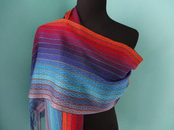 Rainbow Riff Tencel & Silk Scarf /Black Weft / Handwoven