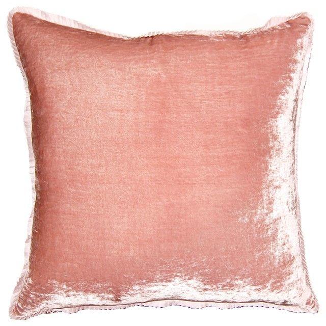 Blush Rose Velvet Throw Pillow