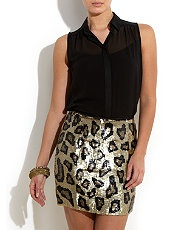Aftershock Boutique Leopard Sequin Skirt  £67.99