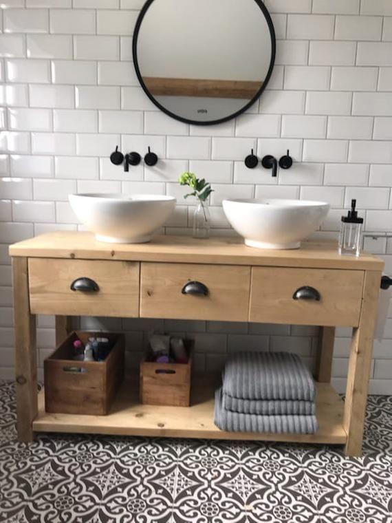 Bathroom Vanity Unit From Reclaimed Scaffold Boards Imogen Etsy Unique Bathroom Vanity Cheap Bathroom Vanities Bathroom Vanity Units