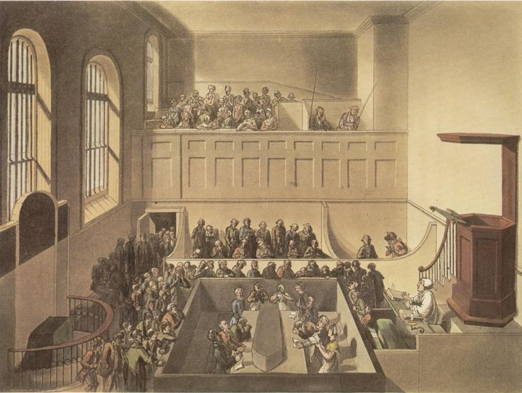 The interior of the chapel at Newgate Prison.  Prisoners awaiting execution can…