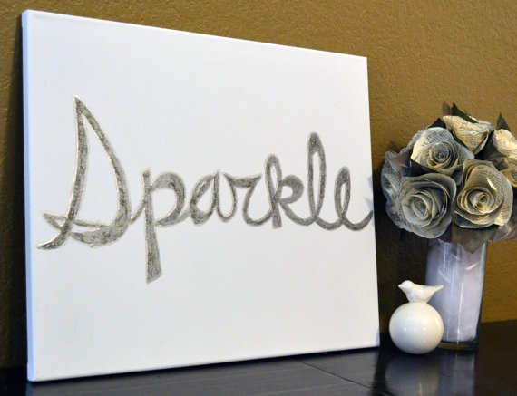 Sparkle Silver Glitter Canvas Painting