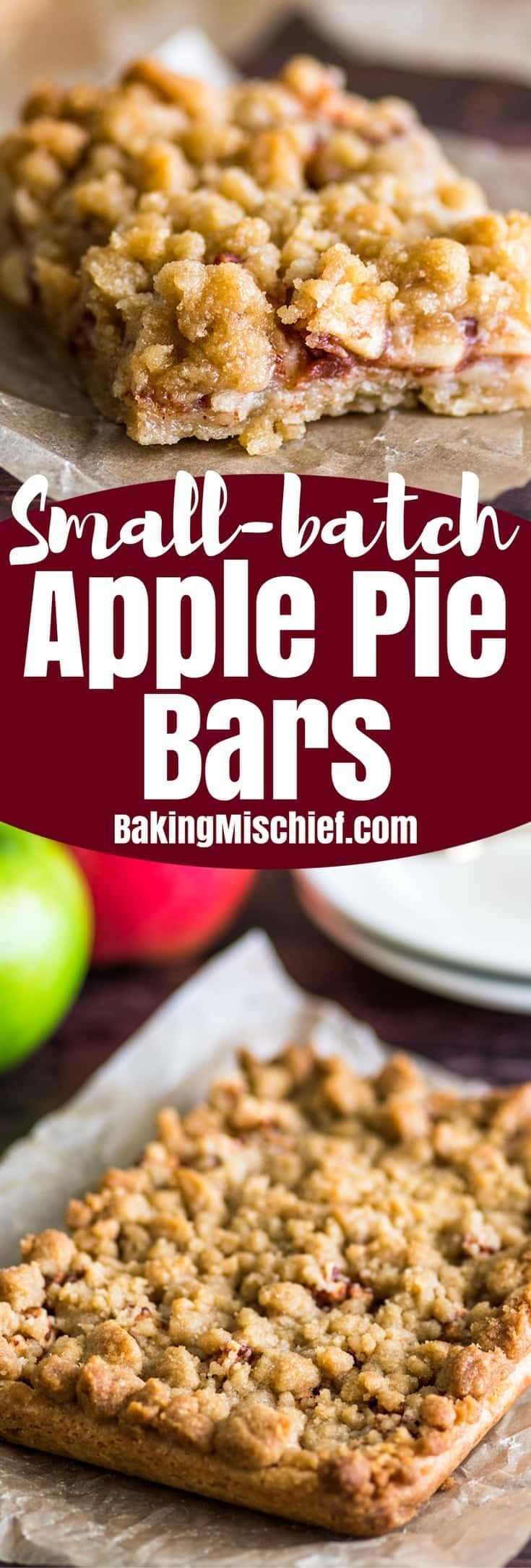 You will love these easy Small-batch Apple Pie Bars with their buttery shortbread base, gooey apple cinnamon center, and crunchy streusel topping. | #Dessert | #AppleDesserts | #EasyDesserts |