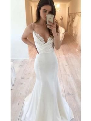 Elegant Spaghetti Straps Long Mermaid Wedding Dresses With Lace, Weddi – PandoraBridal