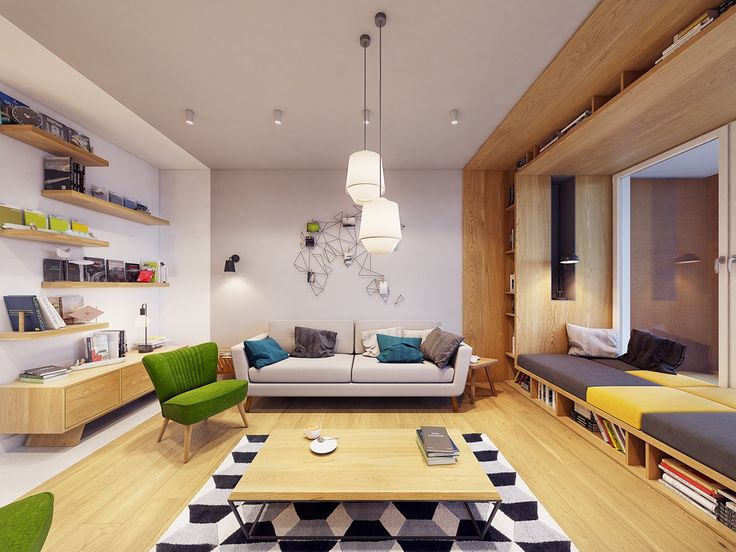 Funky modern interior with natural accents geometric decor