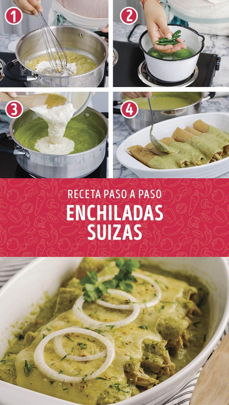 Si conoces la cocina mexicana, seguro conoces esta deliciosa receta de enchiladas suizas. Si las preparas tu misma, seguro les encantarán a todos. Easy Delicious Recipes, Yummy Food, Mexican Salsa Recipes, Guatemalan Recipes, Deli Food, Dinner Dishes, Food Preparation, Food Hacks, Food Inspiration