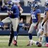 New York Giants defensive tackle Linval Joseph (97) celebrates his sack against Dallas Cowboys quarterback Tony Romo (9) during the second half of their NFL football game, Sunday, Oct. 28, 2012, in Arlington, Texas. The Giants won 29-24. (AP Photo/The Waco Tribune-Herald, Jose Yau)