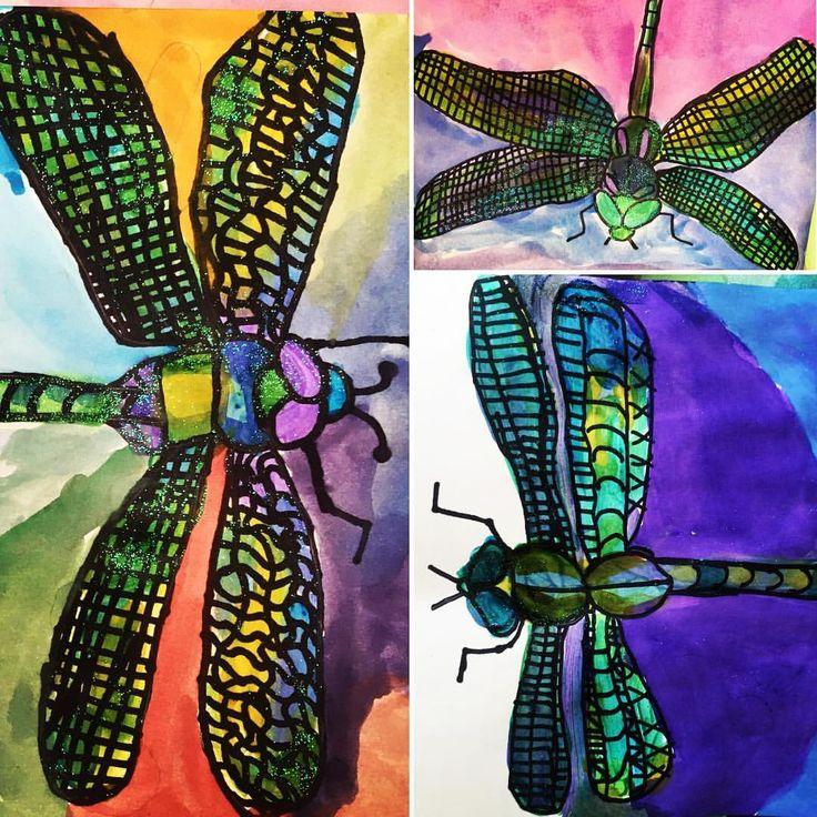 So many beautiful ones! Great job 2nd graders! #dragonflies #dragonfliesofinstagram #artteachersofinstagram #teachingart #elementaryart