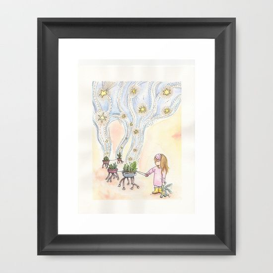 "FRAMED FINEART PRINT/ WHITE MINI (10"" X 12"") seeding the sky watercolor whimsical illustration nursery art custom by LaCatrina.it"