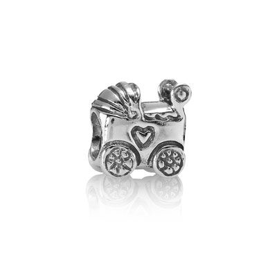 Becoming a mother - or grandmother - is one of life's biggest events. Baby carriage charm in sterling silver. $30 #PANDORA #PANDORAcharm