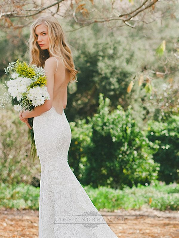 Spaghetti Straps Plunging V-neck Low Backless Lace Wedding Dresses