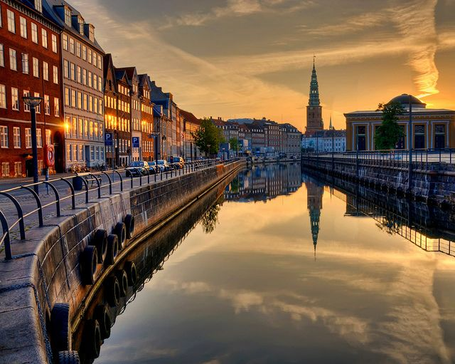 Sunrise on Nybrogade  Another morning in Copenhagen, Denmark. Thorvaldsen's Museum (yellow building) in the background.