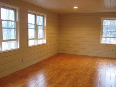 Cheap flooring DIY idea   nooshloves -- Incredible result using plywood cut into random plank sizes, laid with Liquid Nails, stained, and varnished. All for around $1 per square foot according to this blogger...