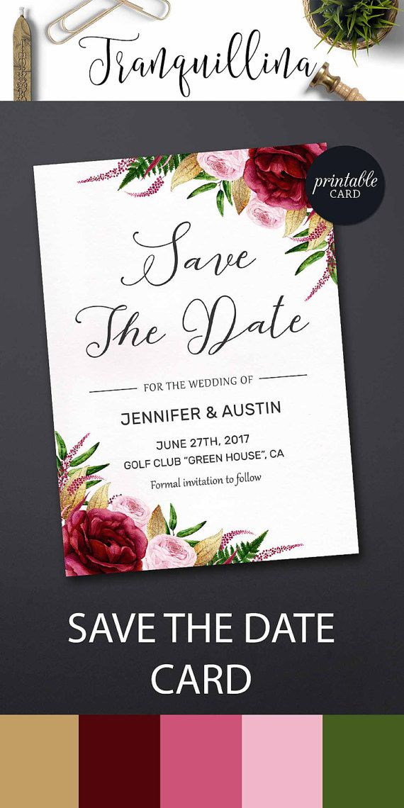 Floral Save the Date Card Burgundy Save the Date Card, Printable Save the Date Marsala Pink Save the date Printable Bohemian Save the date. tranquillina.etsy.com