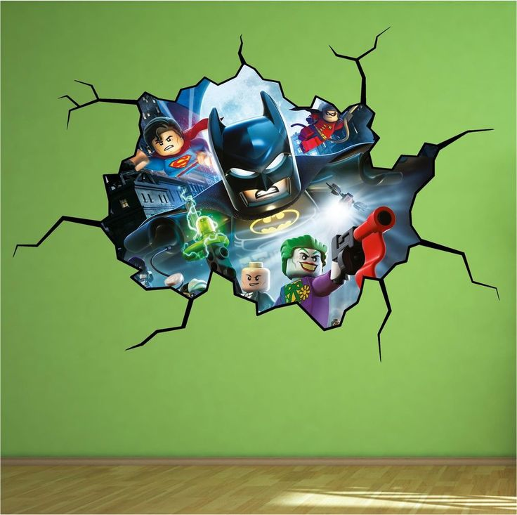 Details About Lego Batman Cracked Wall Full Colour Print