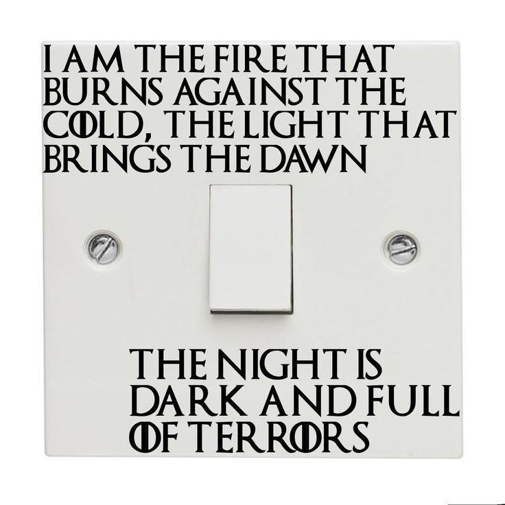 Game of Throne Light Switch Sticker Decal Vinyl GOT Nights Watch Lord of Light
