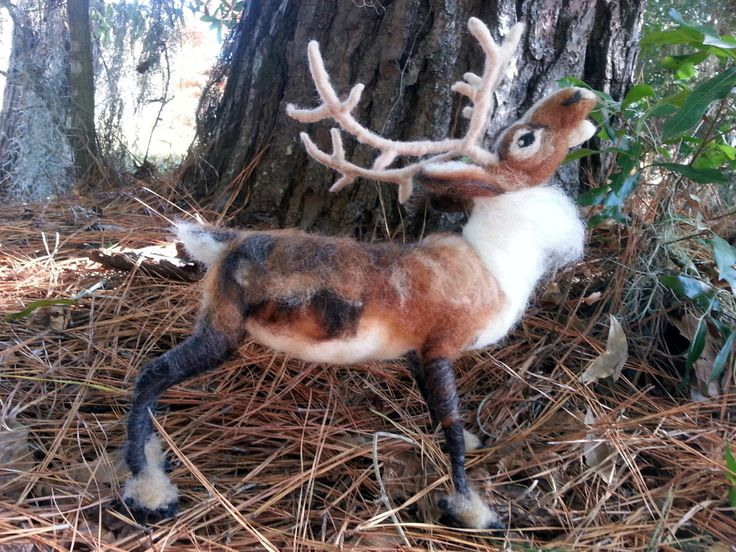 Needle Felted Reindeer - Large Poseable Soft Wool Sculpture of Reindeer or Caribou by MyBuddyBling on Etsy https://www.etsy.com/listing/211830406/needle-felted-reindeer-large-poseable