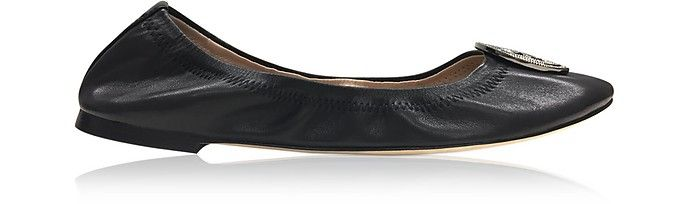 TORY BURCH | Liana Black Leather Ballet Flats #Shoes #TORY BURCH