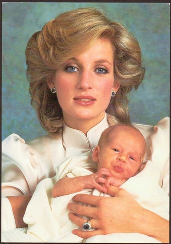 fav picture of Diana with baby Harry! Wrote one pinner.  He's so little!  Adorable photo!