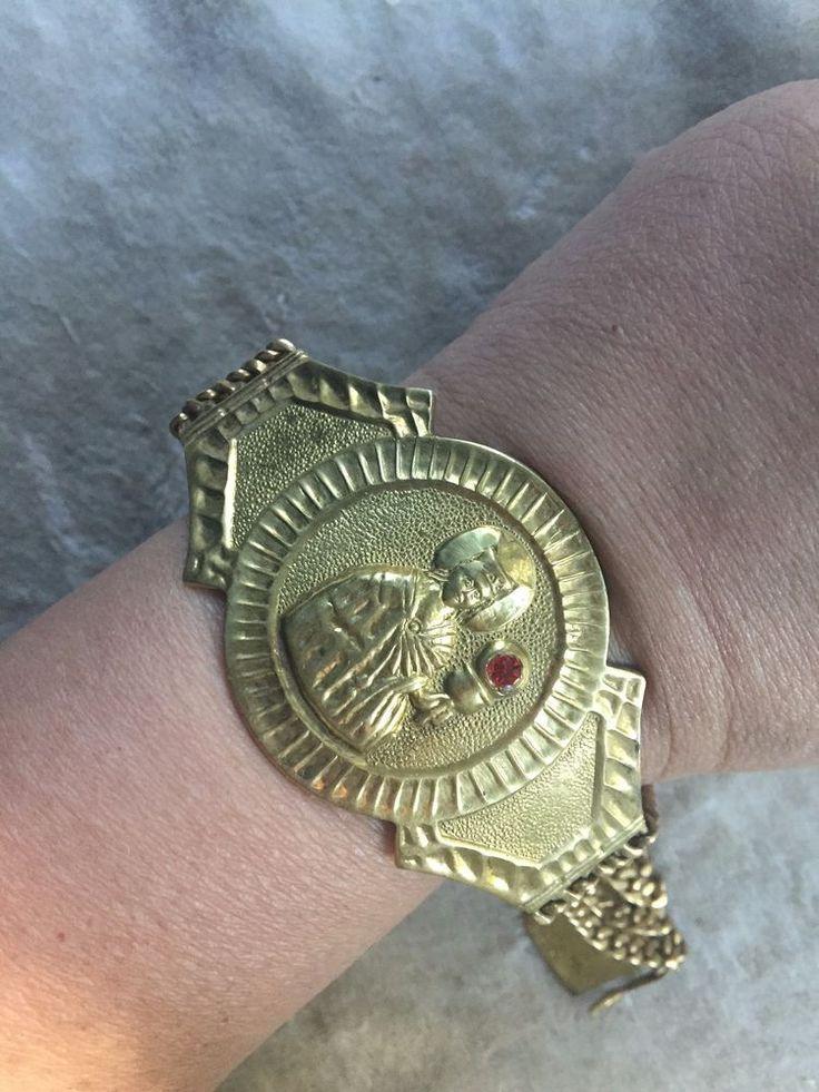 Vintage Antique Marked 14K Italy Cardinal Pope Plaque Multi Chain Bracelet