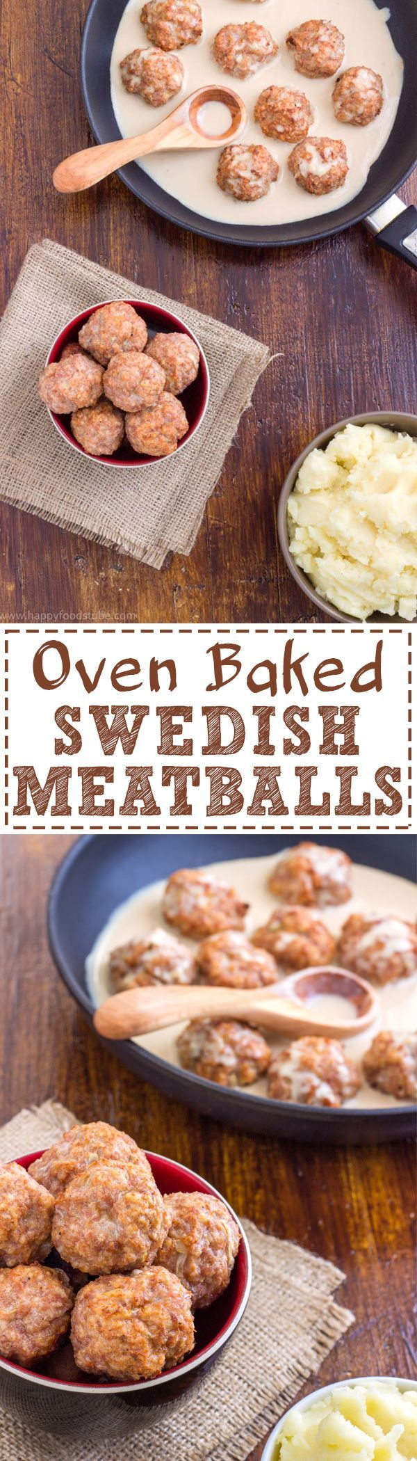 Homemade Oven Baked Swedish Meatballs Recipe! This hearty dish, served with creamy sauce and mashed potatoes is a classic comfort food. | http://happyfoodstube.com