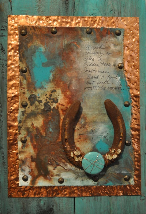 Good Cowboy Horseshoe And Copper Mounted To Reclaimed Rustic Wood Western Decor Wall Art Cowboy Gift