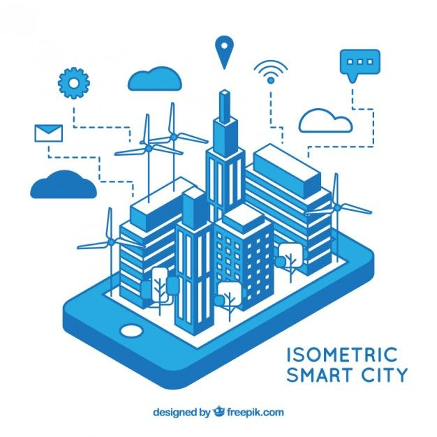 Blue isometric technological city  Free Vector
