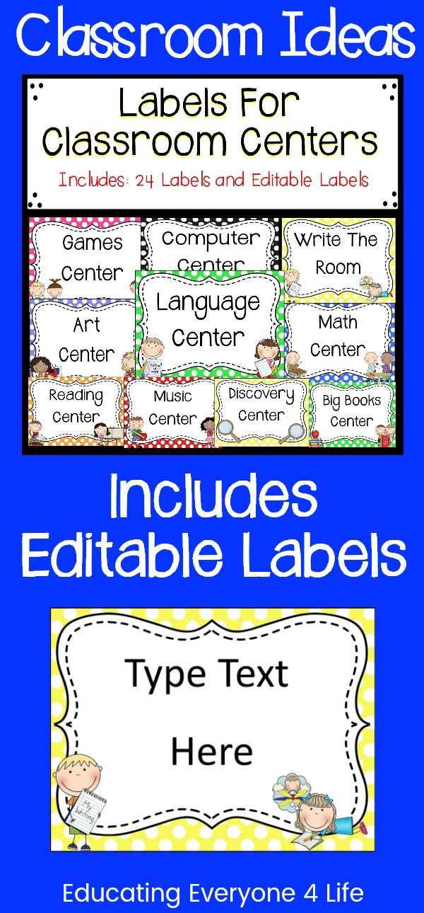Stay organized throughout the school year with these classroom center labels. Click here to download this label set from Teachers pay Teachers. This resource includes a set of editable labels.