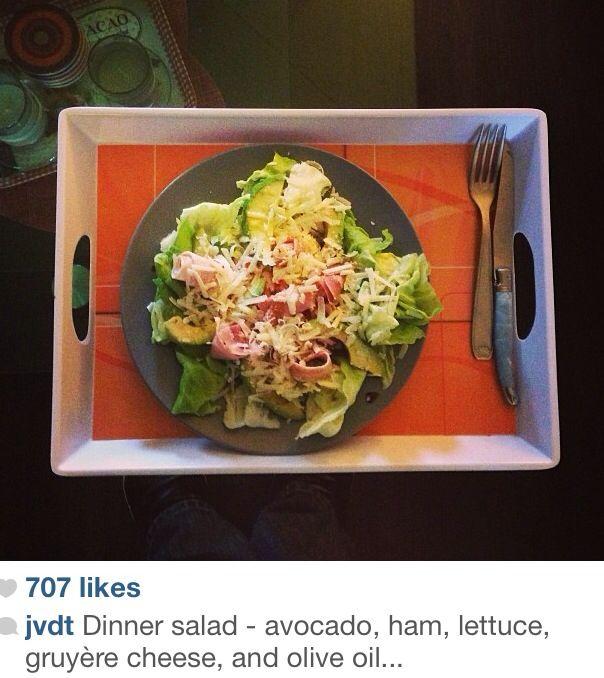 Dinner salad! Avocado, ham, lettuce!