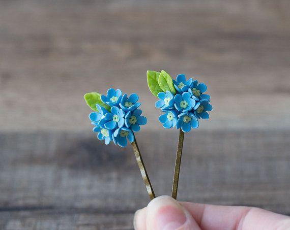 Blauwe bloem haar clips  vergeet mij niet bloem door GentleDecisions