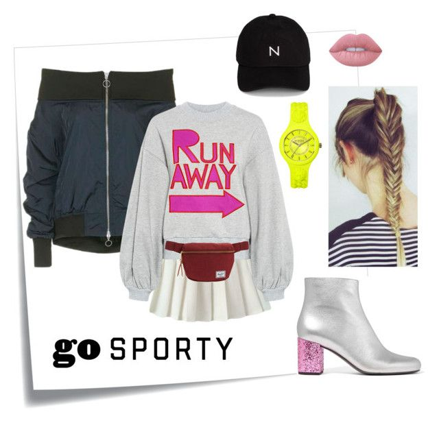 """Спортивный стиль #sporty"" by anastasia-rysjatova on Polyvore featuring мода, Post-It, Topshop, Karen Walker, Yves Saint Laurent, Herschel Supply Co., New Black, Lime Crime и Versus"